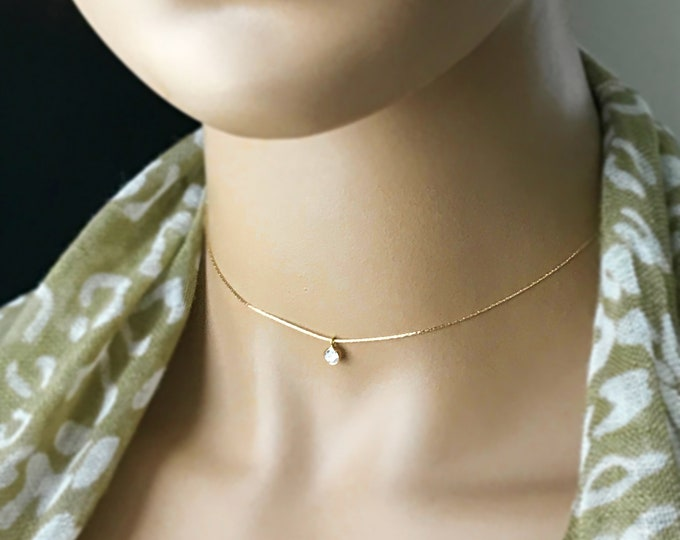 14k Gold Filled 5mm Bezel Choker, 100% 14k Gold Filled Necklace, Sparkling 5mm Slider Zircon Choker, Polishing Cloth Included, Bridal Choker