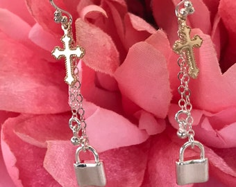 My Devotion ~ Gold Filled Cross & Sterling Silver Pad Lock Chain Earrings, Inspirational Chandelier Earrings