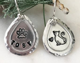 Hand Stamped Cat Earrings, Sterling Silver Earwires, Light Weight Aluminum Teardrops, Personalized Silhouettes, Cat or Dog, Paw Prints