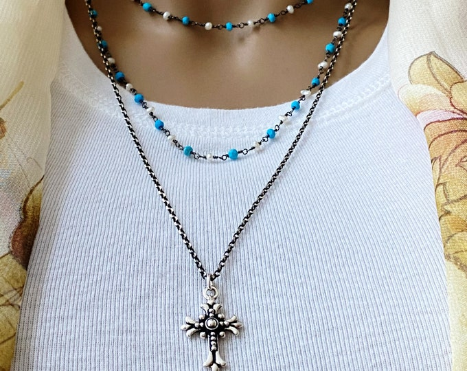 Turquoise & Pearl Rosary Cross Set, Multi Layers of Chains, Separate Sterling Silver Black Chain with Ornate Cross, Layered Inspiration