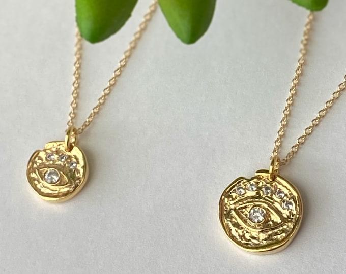 Gold CZ Evil Eye Necklace, Artisan Protection Evil Eye, 14k Gold Filled Necklace, Layering Necklaces, Minimalist, #1101