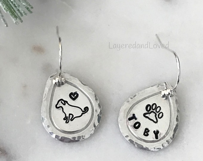 Hand Stamped Dog Earrings, Sterling Silver Earwires, Light Weight Aluminum Teardrops, Personalized Silhouettes, Cat or Dog, Paw Prints