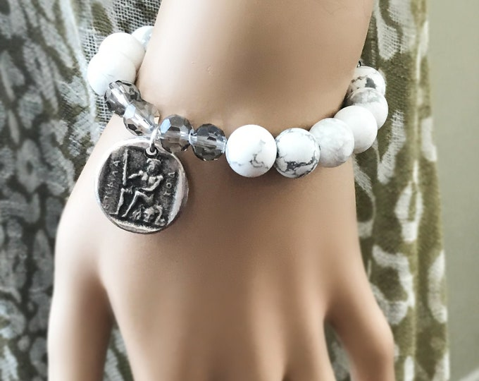 Greek Coin White Howlite Bracelet, Beaded Crystal Stretch Bracelet, CZ Layering Roman Bracelet
