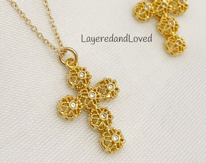 Gold Diamond Filigree Cross Necklace, Filigree cz Cross, Layered Necklace, Fine Line Chain, Victorian Boho
