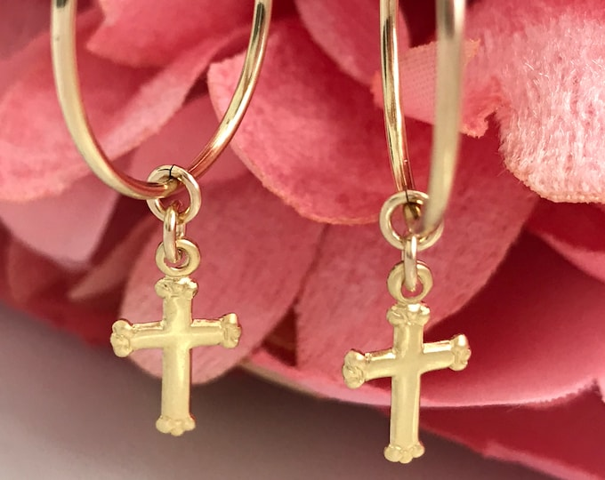 Gold Filled Cross Hoop Earrings, 14k GF Endless Hoops, Gold Guadalupe Dangling Coin Charms, Religious, Inspirational Earrings