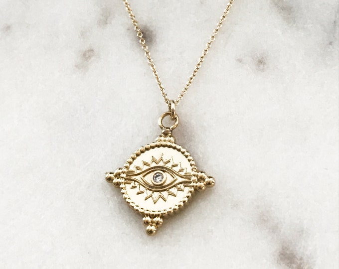 Gold Crystal Eye Coin Necklace, 14k Gold Filled Necklace, Protection Evil Eye, Turkish Jewelry, Layering Necklace