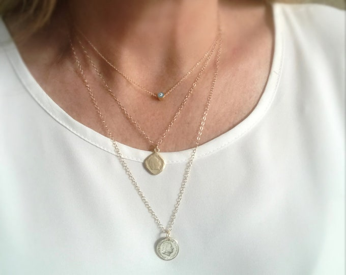 Layering Coin Necklaces, Mini Gold Coins, 14k Gold Filled Necklace, Layered Coin Jewelry