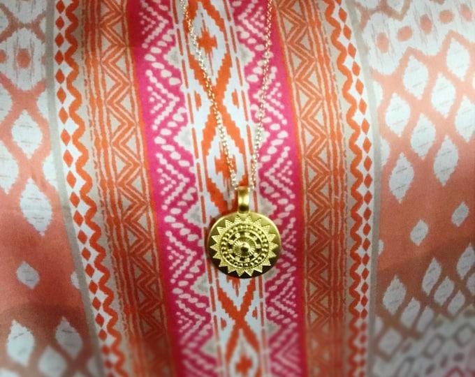 Sun Mandala - Long Gold Filled Sun Necklace, Layering Coin Necklace