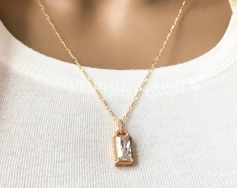Diamond Framed Large Baguette Crystal 14k Gold Filled Necklace, Gold Figaro Chain, Cubic Zirconia Pendant, Layering Necklace, #1113