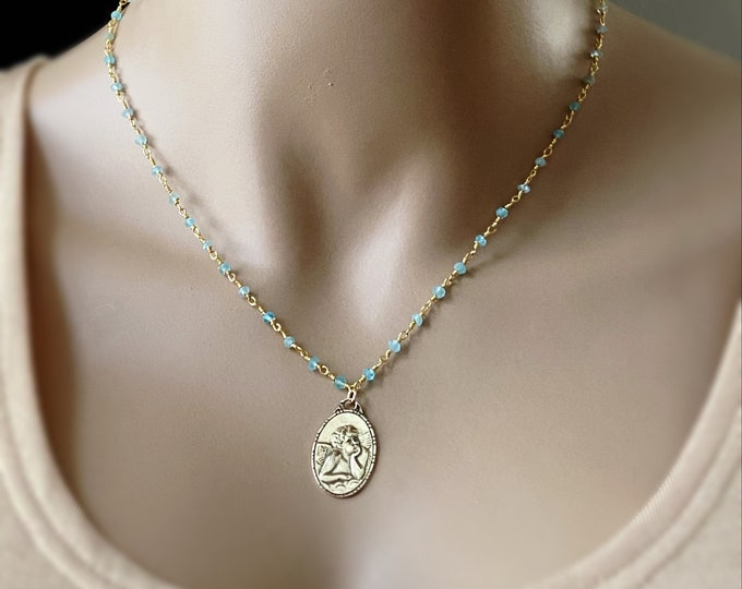 Raphael Angel Rosary Necklace ~ NEW Saint Raphael Medallion on a Gemstone Rosary Chain, Gold Rosary, Pearl or Apatite Choice, Heal the Earth