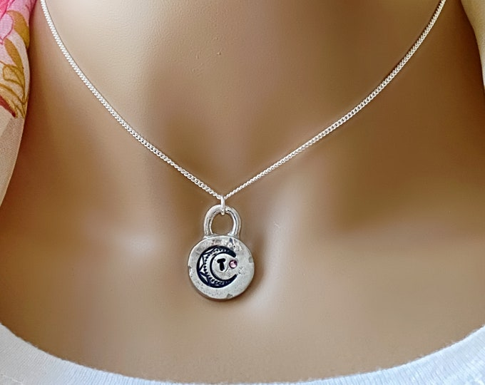 Mystic Moon Hand Stamped Initial, Birthstone, Sterling Silver Necklace, Sterling Curb Chain, Crescent Moon, Celestial, Moon Phase, #1099
