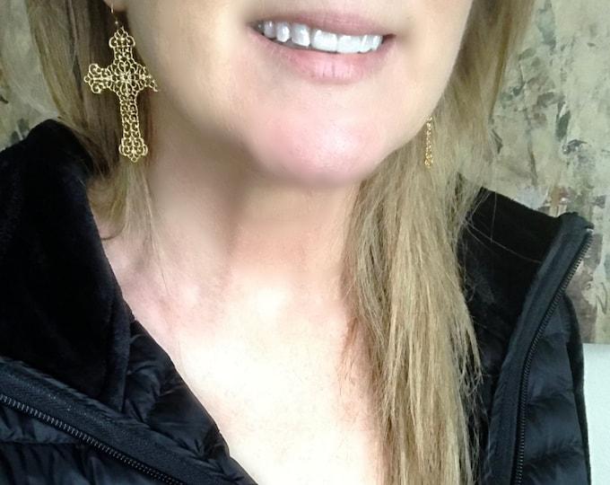 Gold Filigree Cross Earrings, 14k Gold Filled Earrings, NOW Sterling Silver, Big and Beautiful Light Weight Cross Earrings