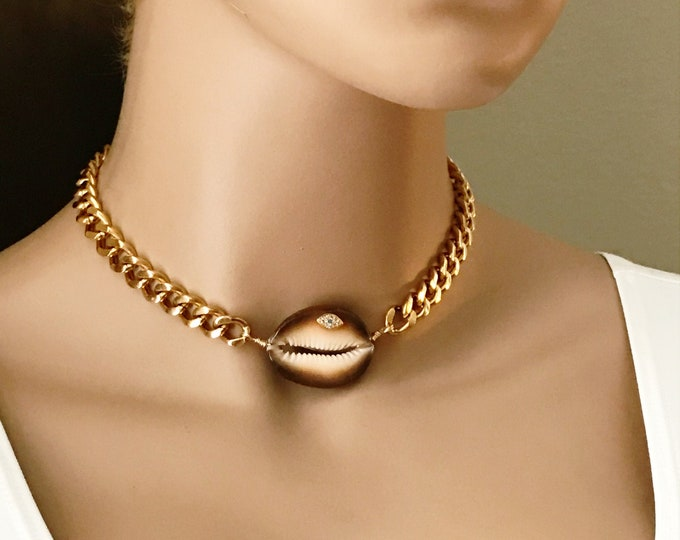 Thick 10mm Gold Curb Chain Evil Eye Shell Choker, Heavy Stainless Steel Chain, Layered Jewelry, Beach Boho Necklace