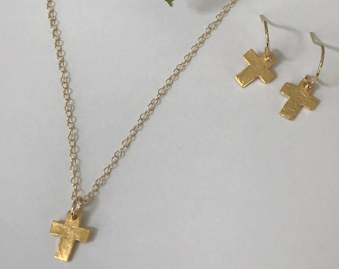Gold Textured Cross Necklace & Earrings Set, Matte Gold Hammered Crosses, 14k Gold Filled Chain and Earwires, Inspirational Set