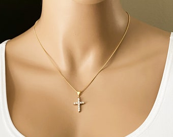 Gold Diamond Cross Necklace, Gold Filled Curb Chain, Inspirational Gift, First Communion, Thankful, Gift for her