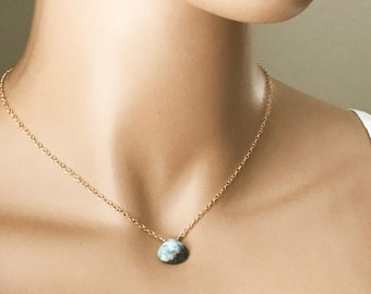 Larimar Gemstone Choker, Ocean Blue Larimar, Sterling Silver or 14k Gold Filled Necklace
