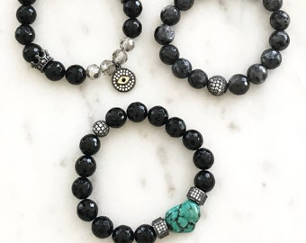 Stacks Turquoise Crystal Bracelets, Black Onyx, Larvikite, CZ Beads, Evil Eye Protection Bracelet, Turquoise Nugget Bracelet, Custom Set