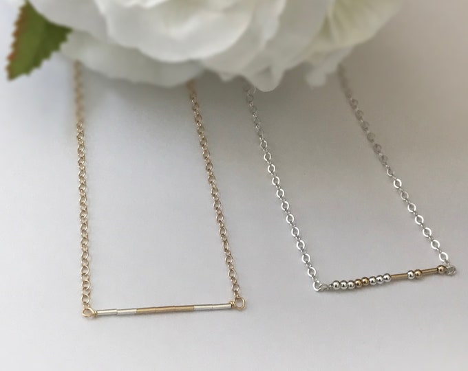 Morse Code Necklace - 14k Gold Filled or Sterling Silver Liquid Bead Necklace, Choose Your Word ~ Mom, Sister, Bestie, Love & More