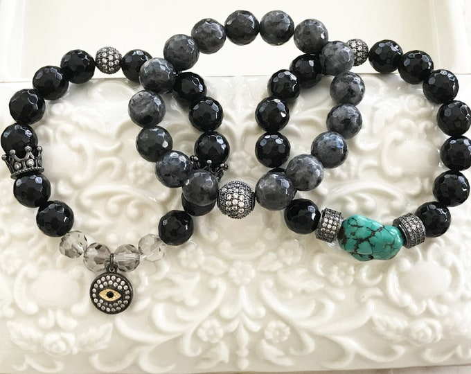 Triple Stack Gemstone Bracelets, Black Onyx, Larvikite, CZ Beads, CZ Evil Eye Protection Bracelet, Turquoise Nugget Bracelet, Custom Set