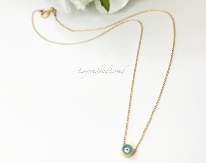 Evil Eye Choker, 14k Gold Filled Choker, Baby Blue Evil Eye Slide Necklace, Dainty Choker