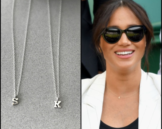 Megan Markle Inspired Teeny Tiny Initial Necklace, Petite Initial Jewelry, Personalized Necklace, 14k Gold Filled Chain or Sterling Silver