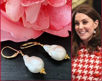 Kate Middleton Inspired Baroque Pearl Earrings, 14k Gold Filled Leverbacks Earrings, Freshwater Pearl Drop, Royal Gold Drops
