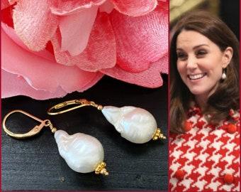 Kate Inspired Baroque Pearl Earrings, 14k Gold Filled Leverbacks Earrings, Freshwater Pearl Drop, Royal Gold Drops