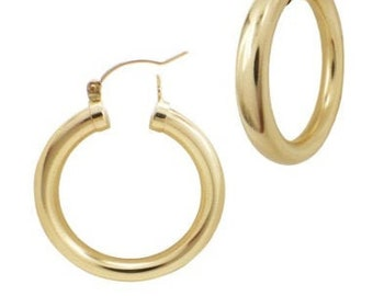 14k Gold Filled SUPER Thick Gold Huge Hoops, 30mm Classic Huge Hoop, Many Sizes Available Beautiful Gold Click Shut Earrings