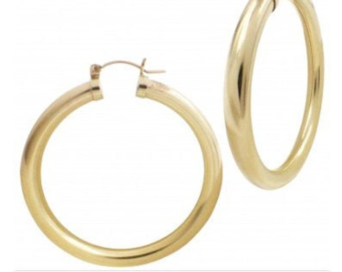 Large Chunky Gold Filled SUPER Thick Huge Hoops, 50mm Classic Huge Hoop, Many Sizes Available Beautiful Gold Click Shut Earrings
