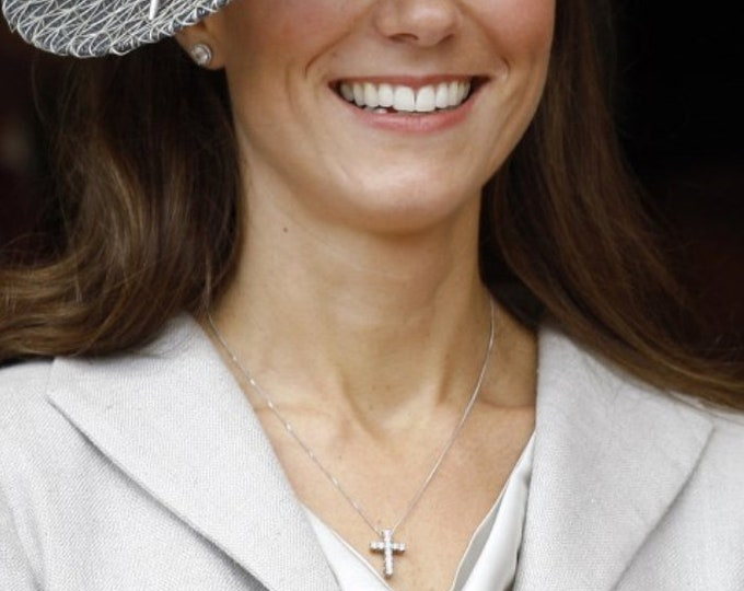 Kate Middleton Inspired Sterling Silver Diamond Cross Necklace, CZ Cross Necklace, Super Sparkle Layering Necklace