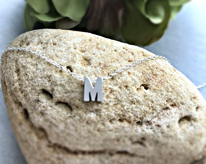 Sterling Silver Initial Necklace / Monogram Jewelry / Tiny Silver Letter / Simple / Personalized Necklace / Slide Letters