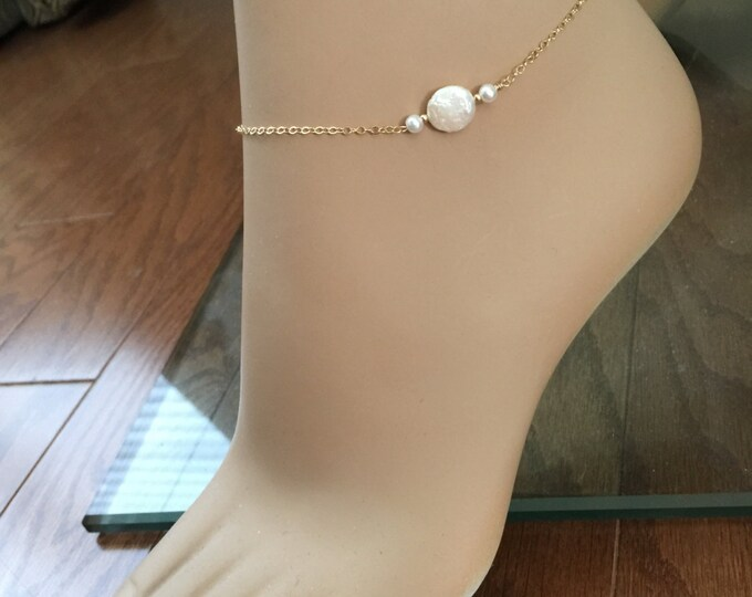 Coin Pearl Anklet, 14k Gold Fill, Freshwater Pearl, Bridesmaid Anklets, Beach Wedding Anklet, Best Friend Anklet