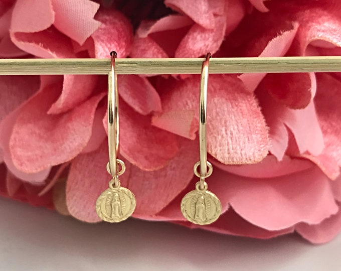 Gold Filled Guadalupe Hoop Earrings, 14k GF Endless Hoops, Gold Cross Dangling Coin Charms, Religious, Inspirational Earrings