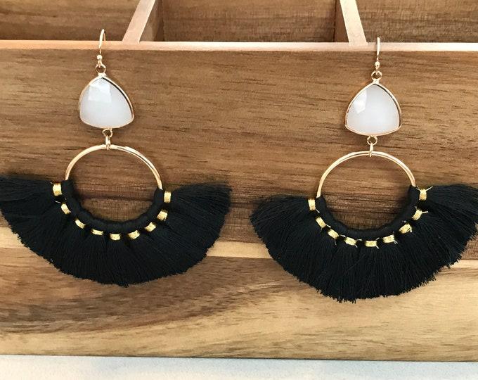 14k Gold Filled, Black Fan Tassel Dangling Earrings, Faceted Milky Opalite Connector, Mini Tassels, Celebrity Style Tassel Earrings