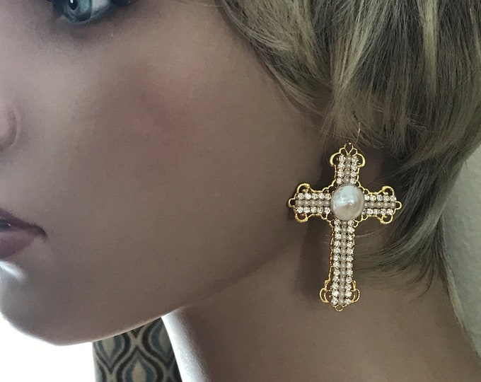 Custom Cross Earrings, 14k Gold Filled, Sterling Silver, Diamond, Pearl, Big & Bold, Inspirational Bohemian Chic, Wear it Proudly with Bling