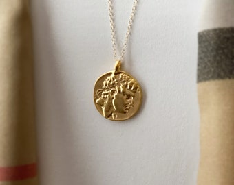 Perseus Gold Greek Coin Medallion, 14k Gold Filled Chain Necklace, Coins from Greece, Ancient Replicas