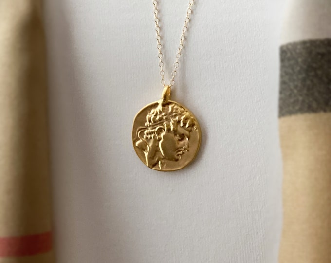 Gold Perseus Greek Coin Medallion, 14k Gold Filled Chain Necklace, Coins from Greece, Ancient Replicas