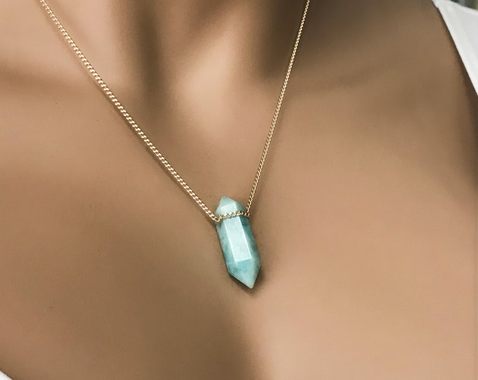 Gemstone Crystal Point Necklace, 14k Gold Filled or Sterling Silver Choice, Opal, Larimar, Labradorite, Moonstone, Aquamarine, Long Necklace