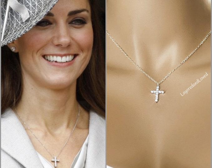 Kate Inspired Sterling Silver Diamond Cross Necklace, Royal Jewelry, CZ Sparkle Cross Inspirational Necklace, #967