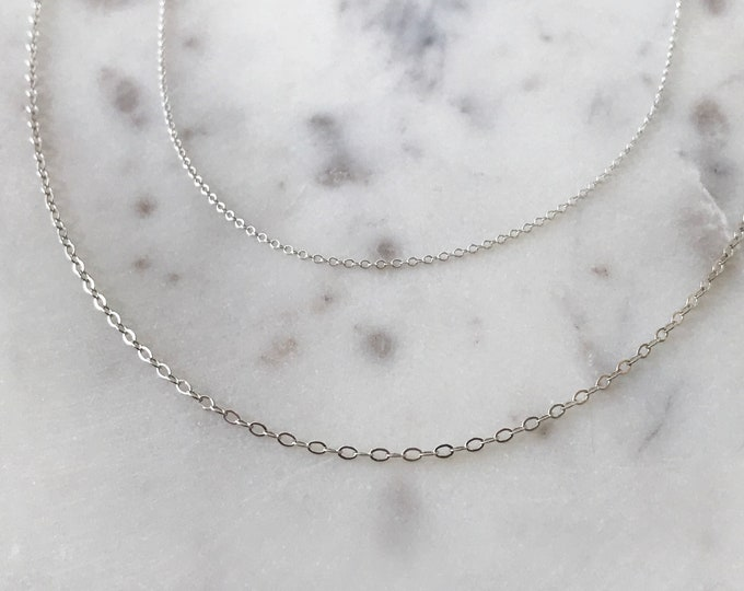 Simple Dainty Chain, Sterling Silver or 14k Gold Filled Cable Chain, Long or Short