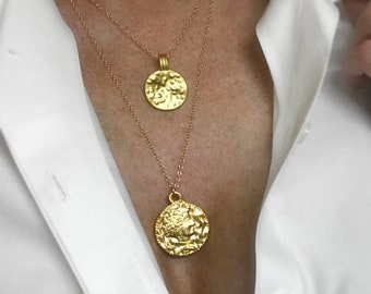 Hammered Coin Necklace, 14k Gold Filled Chain Necklace, Tribal Coin, Layering Coin Necklace