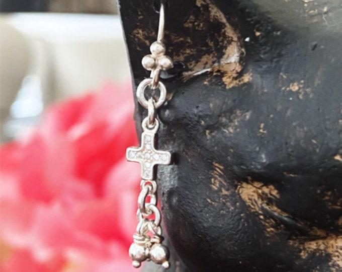 Sterling Silver Diamond Cross Tassel Earrings, Light and Minimal Dangling Earrings, Bright and Inspirational