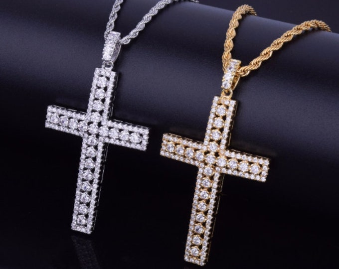 Diamond Cross Necklace, CZ Diamond Cross Necklace, Silver or Gold Cross, Celebrity Inspired
