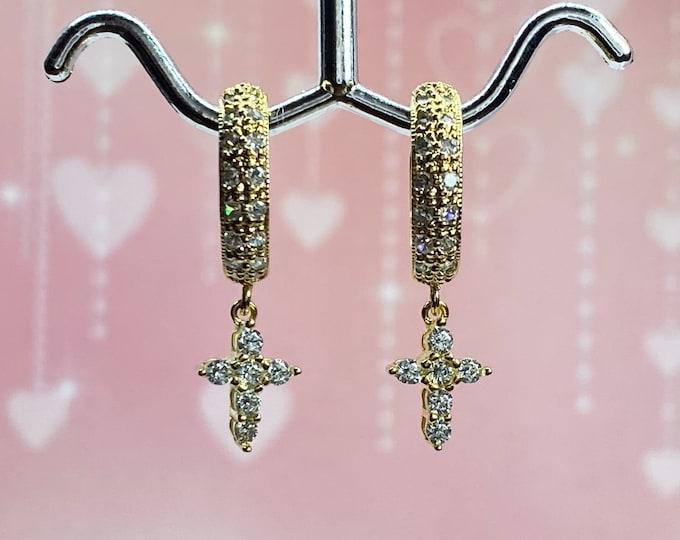 Gold Diamond Cross Hoop Earrings, Double Row Sparkling CZ Diamonds, Tiny Sparkling CZ Crosses, Vermeil Huggie Hoop Cross Earrings, #1122