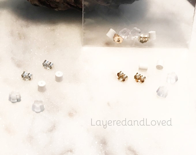 Earring Backs Trio, Sterling Silver or 14k Gold Filled Butterfly Backs, Silicone Backs, Three Pack, Post Earring Backs