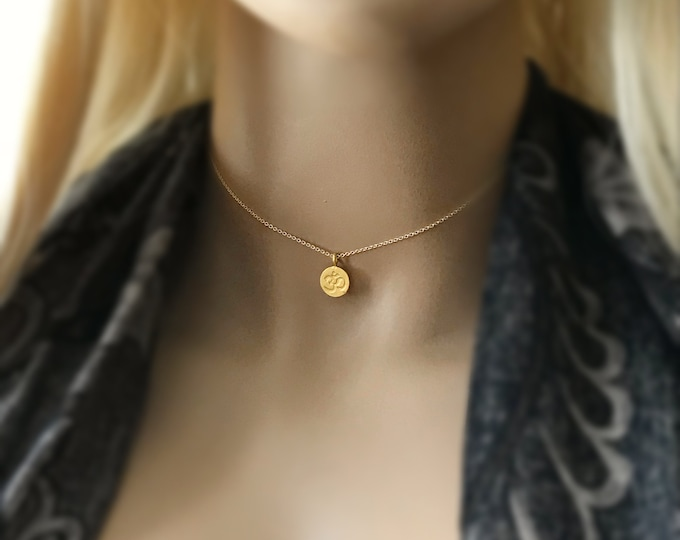 Om Choker, Ohm Yoga Necklace, 14k Gold Filled or Sterling Silver Meditation Necklace, Chakra Inspirational Jewelry