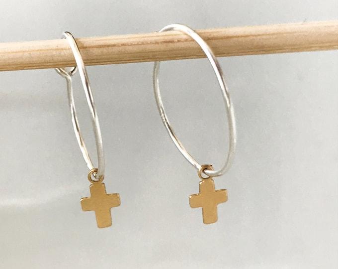 Unisex Sterling Hoop Cross Earrings, 14k Gold Filled Mini Cross, Sterling Silver Hoops, Light Weight, Classic Design