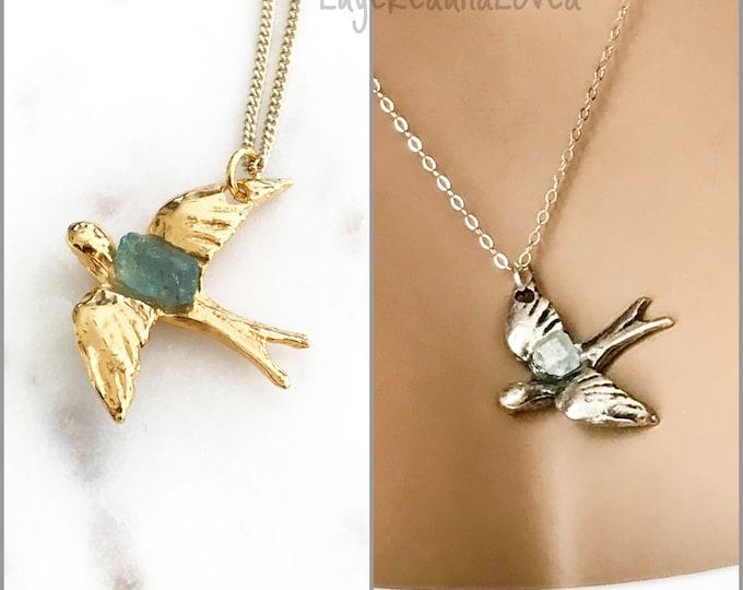 Gemstone Bird Necklace, Aqua Marine, Crystal Tourmaline, Garnet, Peridot, Apatite, Raw Crystal Birthstone