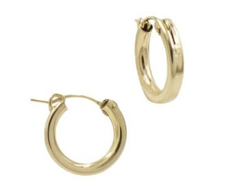 14k Gold Filled Thick Gold Huge Hoops, 3mm Classic Thick Hoop, Beautiful Gold Click Shut Earrings
