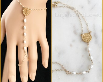 Saint Benedict Pearl Rosary Bracelet Ring Connector, 14k Gold Filled Rosary, AA Lux White Pearl Rosary, 18k Saint Benedict Y Bracelet